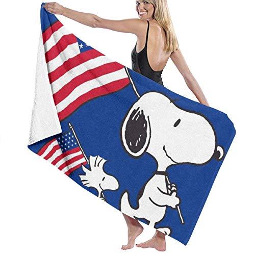 S-Noopy con Bandera De Estados Unidos Manta De Baño Microfibra,Toalla De Playa Suave,Toalla De Piscina,Toallas De Mano para Uso Diario,Toallas De Bañobe Super Absornte