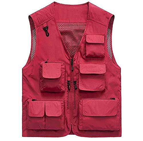 Chaleco de pesca para hombre casual al aire libre, secado rápido, transpirable, cuello en V, chaleco de pesca con múltiples bolsillos, rojo, L