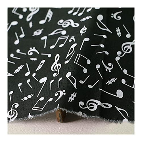 ANWUYANG BU 1 Unids 110 Cm Música Nota Imprimir Paño Popello De Algodón, Tela De Algodón Impreso con Nota Musical Negra Clásica para Bricolaje Decoración Hogareña