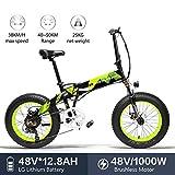 LANKELEISI X2000 - Neumático grande para bicicleta eléctrica plegable de 7 velocidades, 48 V, 12 V, 1000 W, motor de aleación de aluminio, cuadro 5 sin bicicleta de montaña
