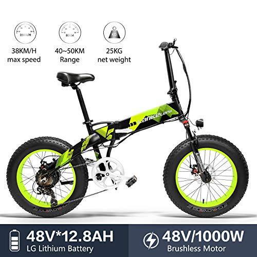 LANKELEISI X2000 20 x 4.0 Pulgadas Fat Tire 48V 1000W 12.8AH Fat Tire Marco de aleación de Aluminio Neumático Bicicleta...