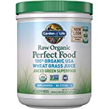 Garden of Life Raw Organic Perfect Food 100% Organic USA Wheat Grass Juice - Juiced Green Superfood Greens Powder, 60 Servings - Stevia-Free, Non-GMO, Vegan, Gluten Free Whole Food Dietary Supplement