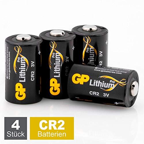 GP Batterien CR2 3V Lithium Pro Schwarz-Gold (4 Stück CR2 Batterien 3 Volt) für Digitalkameras, Camcorder, Rauchmelder, Taschenlampen, Laserpointer, etc.