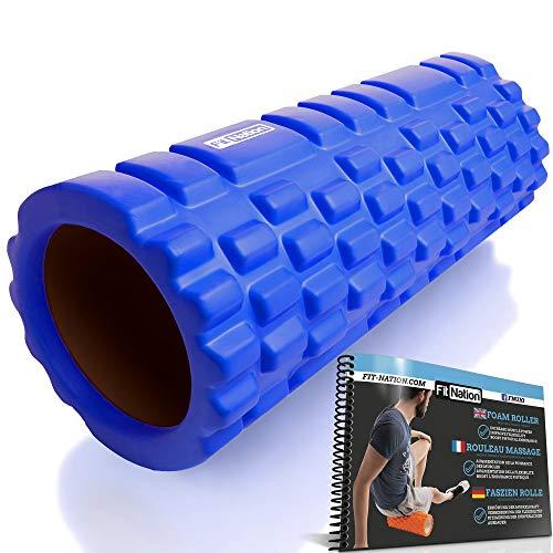 FIT NATION Faszienrolle - Foam Roller Set zur Selbstmassage mit Übungsbuch - Sport Massagerolle Für Anfänger, Profis, Damen & Herren - Blau
