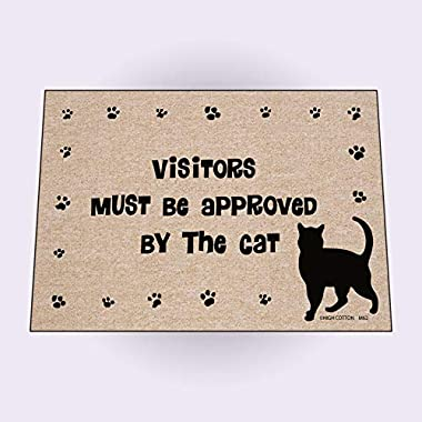 HIGH COTTON Funny Welcome Doormat - Visitors Must Be Approved by the Cat.