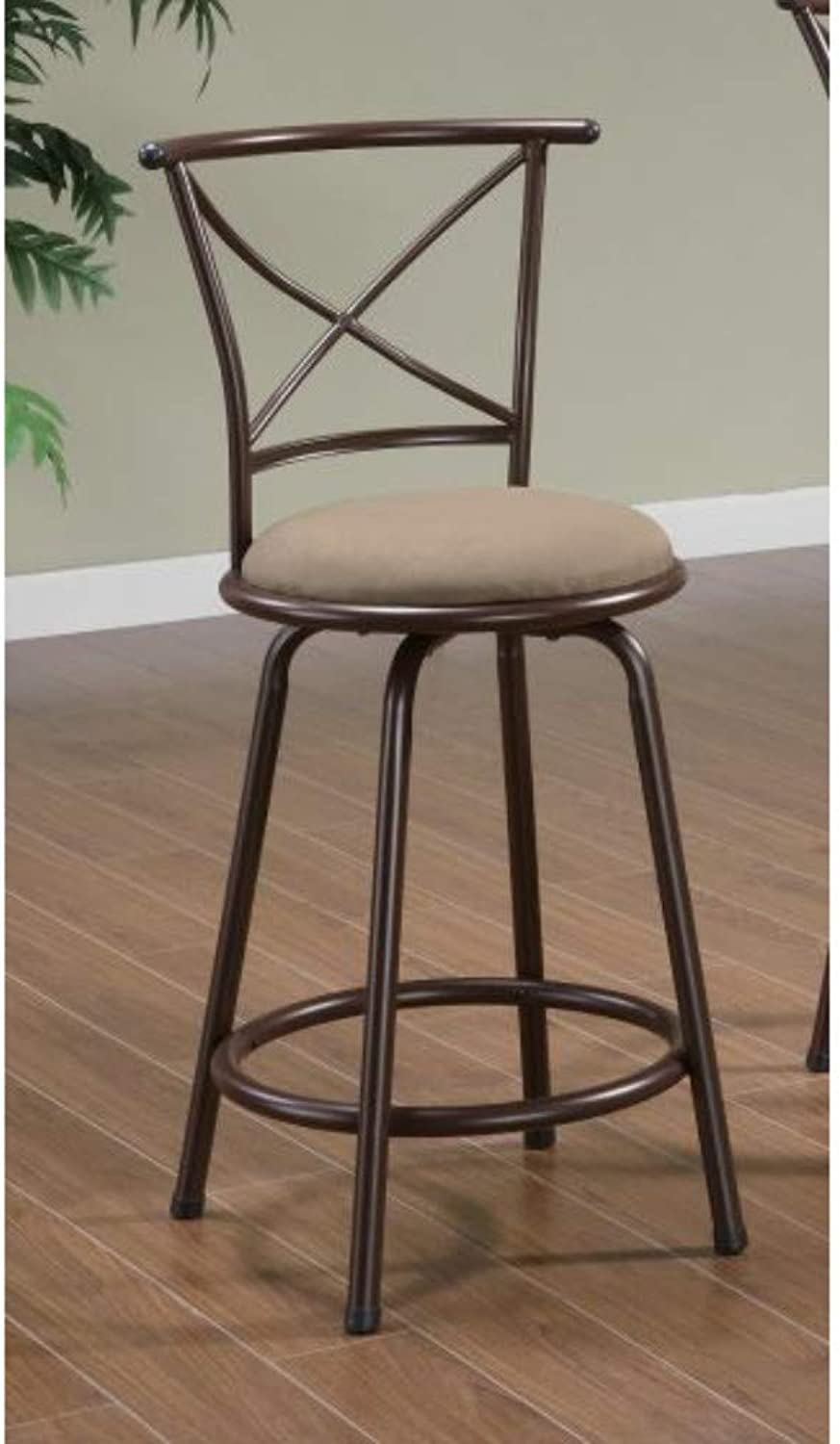 Benzara BM69397 Metal Counter Height Chair, Set of Two, Brown