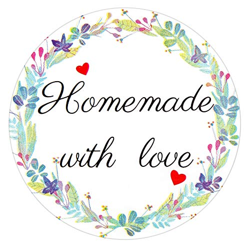 500 Pcs 2 inch Homemade with Love Stickers Canning Supplies Canning Labels for Mason Jar Labels Stickers