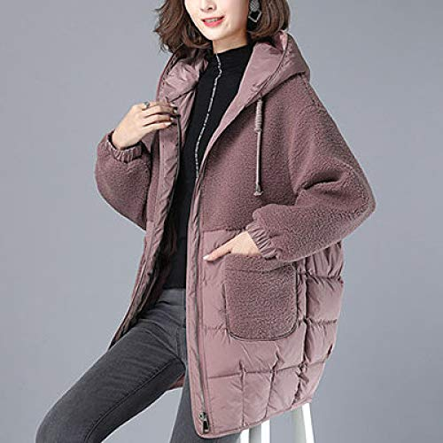 Qier Giacca Invernale,Giacca Parkas in Lana,Marrone Thick Hooded Cappotto Caldo,Casual Windproof Outwear Signore Cotone Elegante Tunic,L
