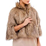 Victray Bridal Faux Fur Shawl Wedding Fur Wraps Sleeveless Fur Stole Winter Cover Up for Women and Girls (Brown)