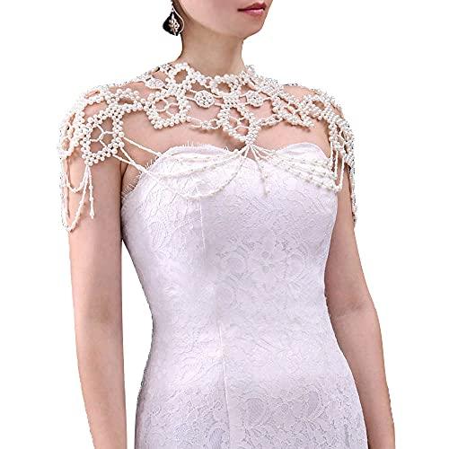 Jhoo Chaîne d'épaule de mariage à pampilles, avec chaîne réglable et perles de cristal lourdes faites à la main - Élégant collier de mariée en dentelle - Accessoire de soirée