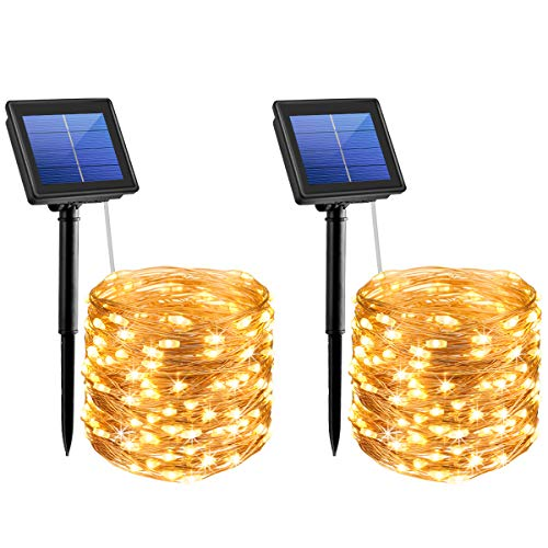AMIR Solar String Lights,72ft 8 Modes Copper Wire Lights, 200 LED Starry Lights, Waterproof IP65 Fairy Christmas Decorative Lights for Outdoor, Wedding, Homes, Party (Warm White - Pack of 2)