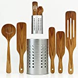Spurtle Set - 6 Piece Wooden Kitchen Tools - Eco-Friendly with Natural Acacia Wood Soup Ladle & Stainless Steel Utensil Holder for Cooking, Baking, Mixing, and Serving by Waysh