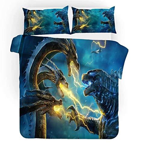 3D Godzilla Dinosaur Bedding Set Twin,Monster Series Mechagodzilla Duvet Cover,Cartoon Comforter Cover 3 Piece Bed Set,Best Gift for Kids Teens Adult(1 Duvet Cover 1 Pillowcase)