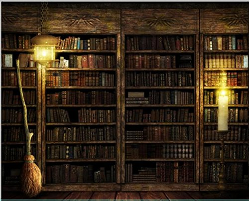 10x8 ft Vintage Antique Bookshelf Backdrop Old Books on Wooden Bookcase Light Retro Photography Backgrounds for Photo Studio 164