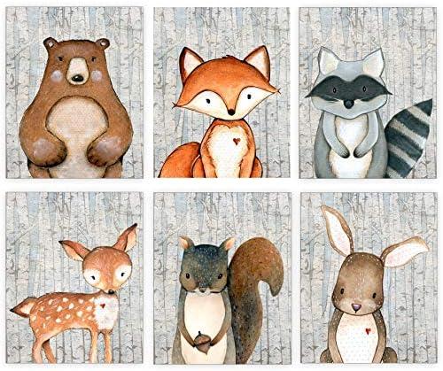 Woodland Nursery Decor for Boys Animal Pictures Wall Art Baby Room Prints Bear Deer Fox Raccoon product image