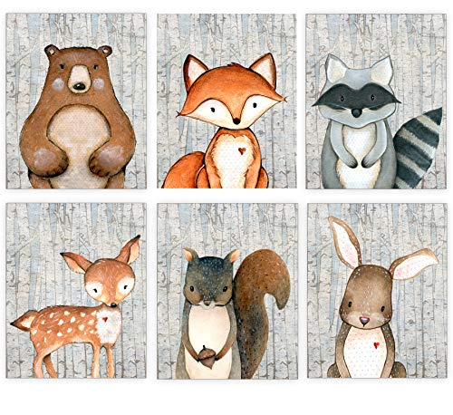 Woodland Nursery Decor for Boys - Animal Pictures Wall Art - Baby Room Prints - Bear Deer Fox Raccoon Rabbit Squirrel - SET OF 6-8x10 - UNFRAMED