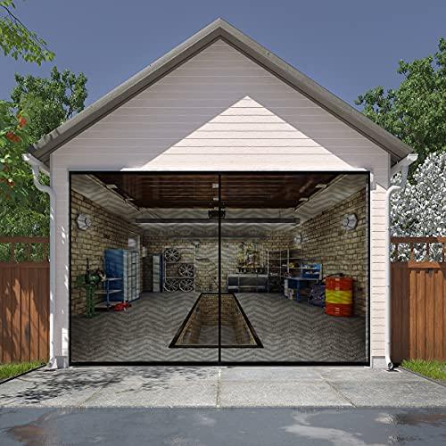 LIAMST Garage Screen Door for 1 Car Garage Doors 9x7FT- Reinforced Fiberglass Door Screen,Stronger 1500g(3.4LB) High Energy Magnets ,Hands Free Magnetic Screen Door