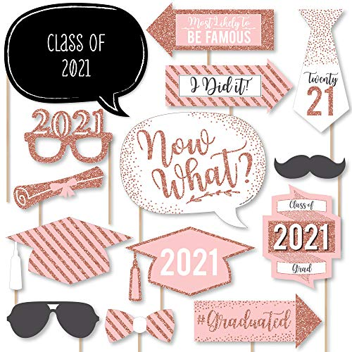 Big Dot of Happiness Rose Gold - 2021 Graduation Party Photo Booth Props Kit - 20 Count