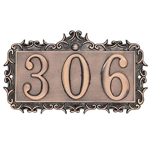 House Number Metal Address Plaque House Number Sign Antique Copper, Bronze, Personalized Sign for House, Apartment, Office, Garden Decorative, Public Facilitiesy (Lace)