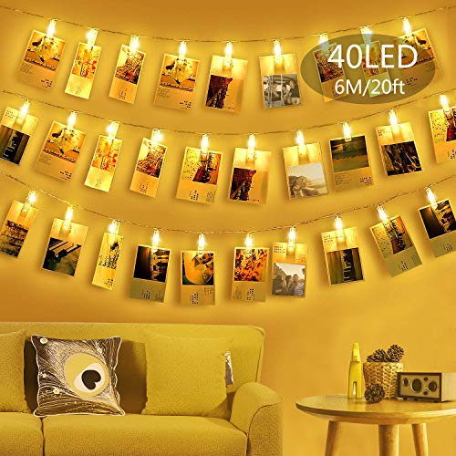 Gogotool LED Fotoclips Lichterkette für Zimmer deko,Warmweiß 6M 40 LED Bilderrahmen dekor für innen, Haus, Weihnachten, Hochzeit, Schlafzimmer Usw.