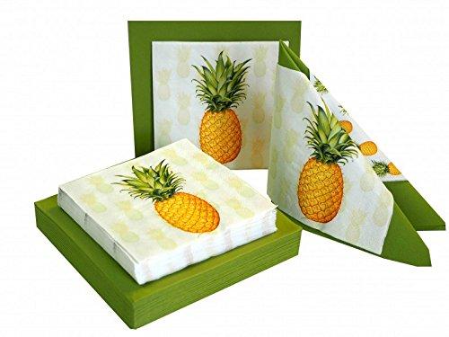 Ensemble : 20+20 Serviettes Ananas Vert Été Décoration Fête Anniversaire Déco