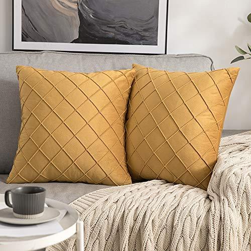 MIULEE 2 Piezas Funda de Cojines Terciopelo Suave Color Sólido Funda de Almohada Moderna Duradera Decoración para Habitacion Sofá Comedor Cama Dormitorio Oficina Sala de Estar 40x40cm Golden