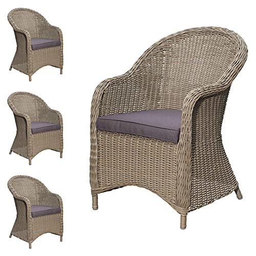 Green Spirit - 4er Garten-Sessel Set Viborg - Braun-Grau, Polyrattan, Wetterfest - Garten-Stuhl Set mit 4 Sessel, 4 Polster