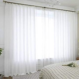 Translucide Rideau, Lin Voilage Décoration de Fenêtre Doux Rideaux Occultants à Oeillets Draperies Convient à Chambre Balc...
