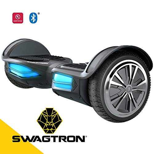 Swagtron T380 T380 Hoverboard with Bluetooth SpeakerLightsAndroid and iOS App (Black)
