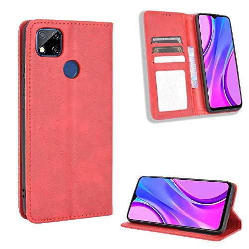 BaiFu Lederhülle für Xiaomi Redmi 9C Hülle, Flip Hülle Schutzhülle Handy mit Kartenfach Stand & Magnet Funktion als Brieftasche, Tasche Cover Etui Handyhülle für Xiaomi Redmi 9C, Rot
