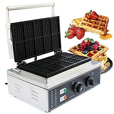 Square Waffle Iron, 110V Commercial 10Pcs Nonstick Dual Heating Pans Electric Waffle Machine Temperature and Time Control Rectangle Belgian Waffle Maker for Bakeries, Cafes Shops