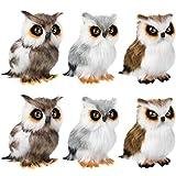 Skylety 6 Pieces Mini Owl Plush Toy 3.2 Inch Gray White Plush Stuffed Animal Toy Tiny Soft Owl Doll Plush Hanging Pendant Ornament for DIY Keychain Birthday Xmas Decorations Party Favor