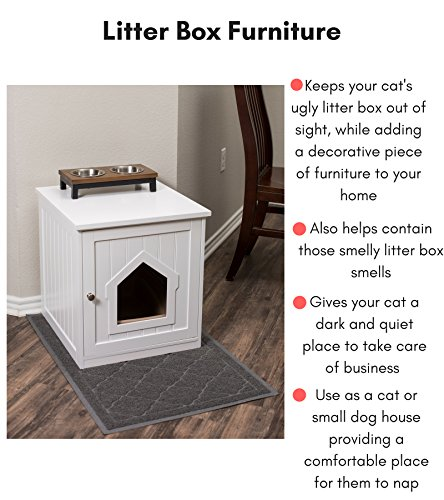 BIRDROCK Home Decorative Cat House & Side Table - Cat Home Nightstand - Indoor Pet Crate - Litter Box Enclosure - Hooded Hidden Pet Box - Cats Furniture Cabinet - Kitty Washroom - White