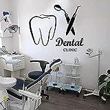 Clínica dental Calcomanía de la pared Dentista Dentista Care Pegatina de pared Clínica dental Accesorios Accesorios de decoración removible Mural de dientes de vinilo58x50cm