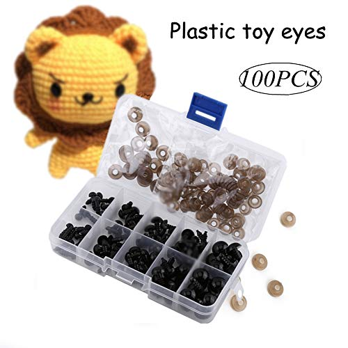 100 Pcs 6-12 mm Ojos de Seguridad,Ojos de Juguete Ojos de Muñeca Pequeños de Plástico Negro Accesorios de Juguetes Casa Ojos Atractivos para Títeres,Muñecas,Osos,Animales de Peluche,Monstruos
