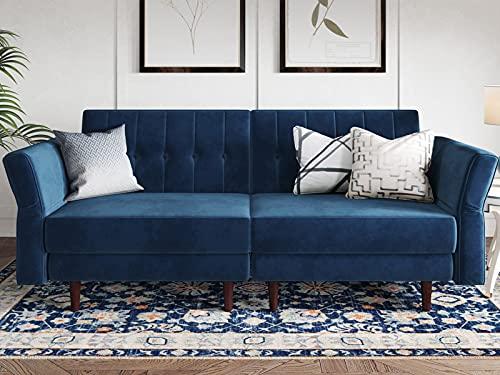 Belffin Velvet Futon Sofa Bed Double Adult 2 Seater Sofa Bed Settee Small Sofa Bed Two Seater Blue