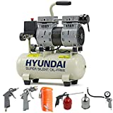 Hyundai Low Noise Silent Less Electric Air Compressor 550 Watt, 4CFM 100PSI, 8 Litre Tank, Oil Free, Direct Drive, Quick Release Fittings, Includes 5 Piece Accessories Kit, UK Power Plug, W, 230V