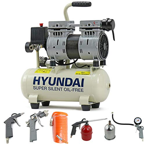 Hyundai Low Noise Silent Less Electric Air Compressor 550 Watt, 4CFM 100PSI, 8 Litre Tank, Oil Free, Direct Drive, Quick Release Fittings, Includes 5 Piece Accessories Kit, UK Power Plug, W, 230V