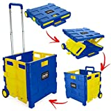 Foldable Plastic Shopping Trolley - Lightweight Teacher's Book Cart - Wheeled Folding Storage Box with...