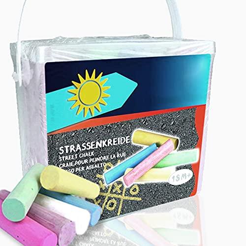 Smart Planet® Straßenmalkreide 20-TLG Kinderkreide 6 versch. Farben Kreide für Kinder zum Malen auf der Straße Kreide abwaschbar - mit Box