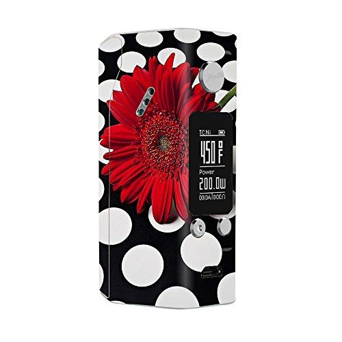 Skin Decal Vinyl Wrap for Wismec RX200S Reuleaux Vape Mod / Red Flower on Polka Dots