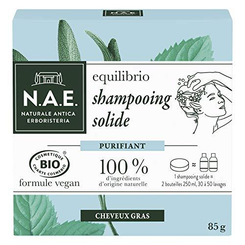 puissant NAE – Shampooing solide certifié biologique – Cheveux gras nettoyants – 85 g