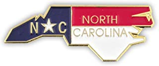 State Shape of North Carolina and North Carolina Flag Lapel Pin
