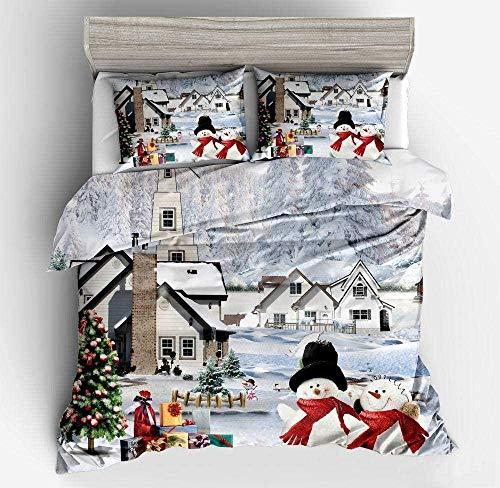 YYHJ Weihnachten Double Quilt Cover 3D Weihnachten Quilt Cover Bedding-b_King Weiche Betten Set Atmungsaktive