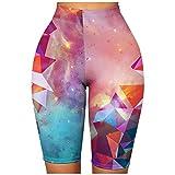 Pudyor Pantalones Cortos Deportivos de Impresión de Estrellas Pantalón de Deporte para Mujer Shorts Transpirables Elásticos Leggins Push up de Cintura Alta Mallas de Yoga para Correr Gym Fitness