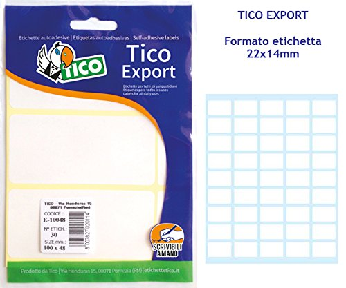 Tico E-2214A. Bolsa 450 etiquetas blanca escribible