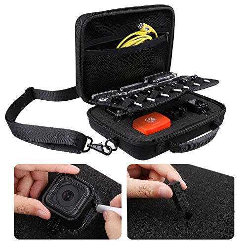 CamKix Large Case Compatible with GoPro Hero 8 Black, 7, 6, Fusion, 5, Black, Session, Hero 4, Session, Black, Silver, Hero+ LCD, 3+, 3 and DJI Osmo Action with Shoulder Strap - Customizable