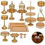 amacchi alzata per torta set di 14 pezzi supporto per vassoi torte alzata per dolci decorazione da tavolo per festa di compreanno e matrimonio colore oro