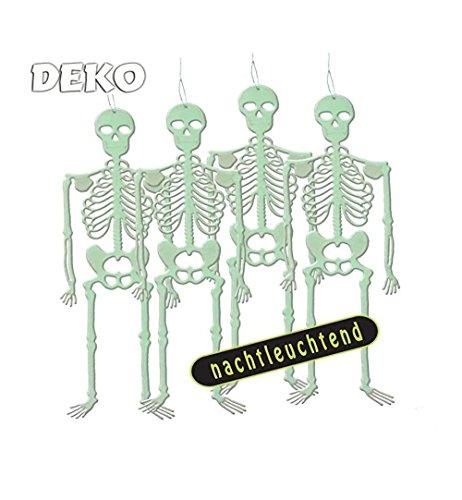 KarnevalsTeufel Dekorationsset Halloween, 4 nachtleuchtende Skelette, Größe ca. 32cm