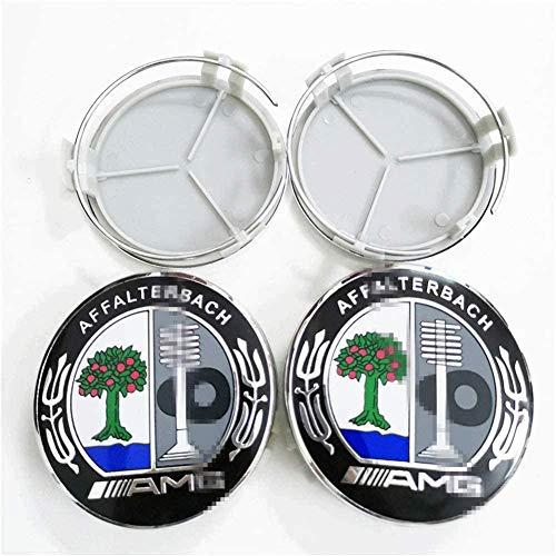 Cubierta de la insignia del eje del centro de la rueda del coche 4pcs,casquillo del eje de la rueda del logotipo de aluminio para Mercedes-Benz AFFALTERBACH AMG Modelado de accesorios de decoración